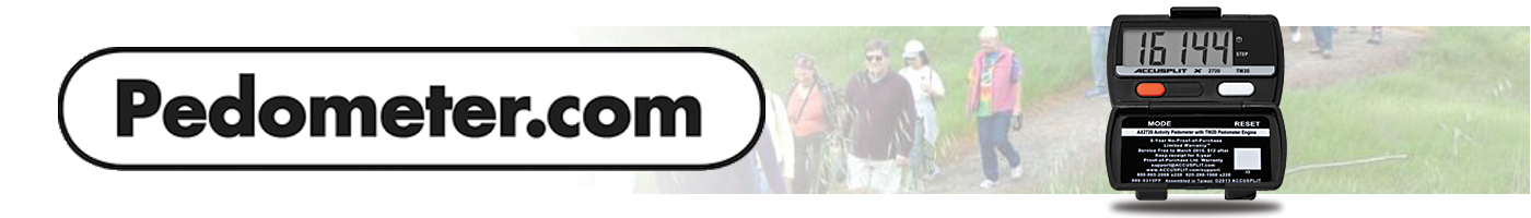 Pedometer.com header logo people walking and a picture of a pedometer